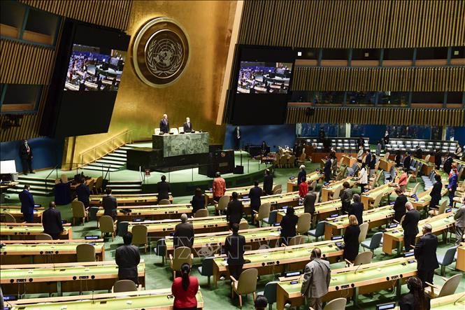 The scene of the first plenary session of the 75th UN General Assembly. Photo: Huu Thanh / VNA